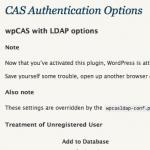 wpCAS-w-LDAP: Administration Screen