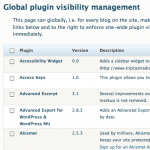 Plugin Visibility Manager: Visibility management screen