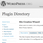 Site Creation Wizard: Wordpress Plugin Repository