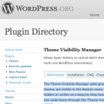 Theme Visibility Manager: Wordpress Repository